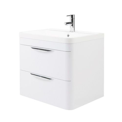 Parade 600mm White Gloss Wall Mounted Vanity Unit & Basin